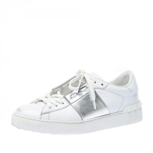 Valentino White And Silver Band Leather Open Low Top Sneakers Size 38.5