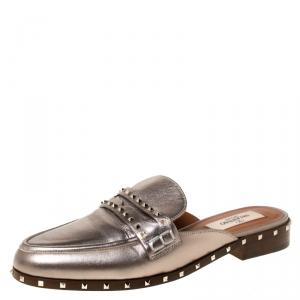 Valentino Metallic Bronze Leather Soul Rockstud Flat Mules Size 35 - used
