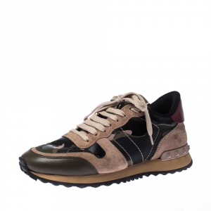 Valentino Multicolor Camouflage Leather And Suede Hawaiian Couture Rockrunner Sneakers Size 36