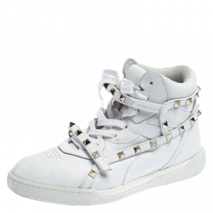 Valentino White Leather Rockstud Amor High Top Sneakers Size 38