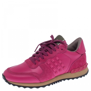 Valentino Pink Leather And Suede Spike Lace Up Sneakers Size 38.5