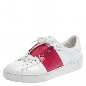 Valentino White/Pink Leather Open Low Top Sneakers Size 36.5