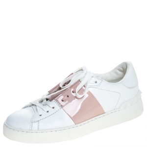 Valentino White/Pink Leather Rockstud Lace Up Sneakers Size 37.5