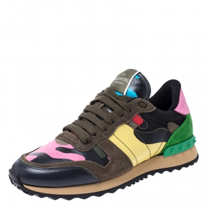Valentino Multicolor Camouflage Canvas and Leather Rockrunner Sneakers Size 37