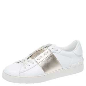 Valentino White/Gold Leather Flycrew Lace Up Sneakers Size 38