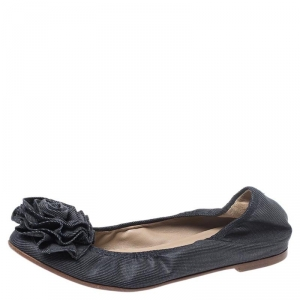 Valentino Grey Canvas Flower Detail Ballet Flats Size 35 - used