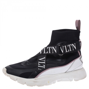 Valentino Black Stretch Knit and Leather VLTN Heroes Her Low-Top Sneakers Size 38