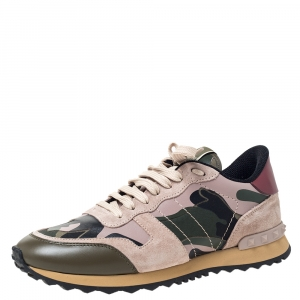 Valentino Multicolor Camouflage Printed Canvas And Leather Rockrunner Sneakers Size 39