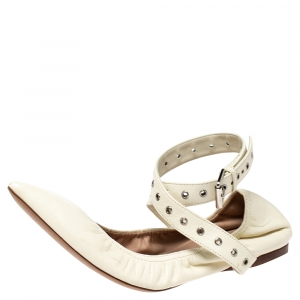 Valentino White Leather Love Latch Ankle Strap Scrunch Ballet Flats Size 38 - used