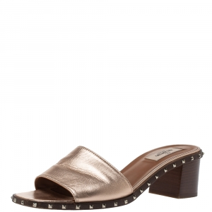 Valentino Metallic Bronze Leather Soul Rockstud Slide Sandals Size 39 - used
