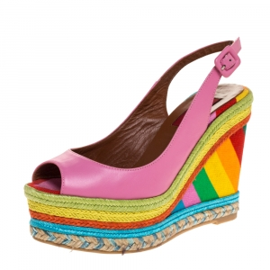 Valentino Pink Leather And Multicolor Wedge 1973 Espadrille Slingback Sandals Size 36 - used