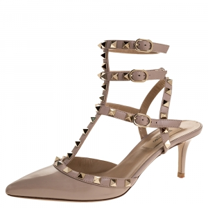 Valentino Beige Patent Leather Rockstud Ankle Strap Sandals Size 37.5 - used