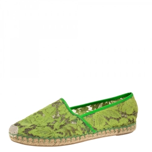 Valentino Neon Green Lace Espadrilles Size 39 - used