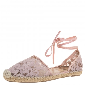 Valentino Pink Floral Lace Ankle Wrap Espadrille Flats Size 41 - used