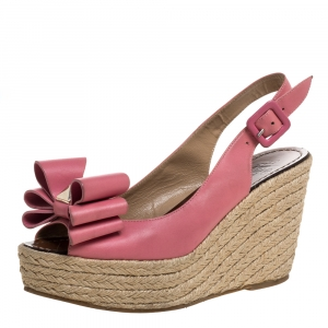 Valentino Pink Leather Studded Bow Espadrille Platform Wedge Sandals Size 38 - used