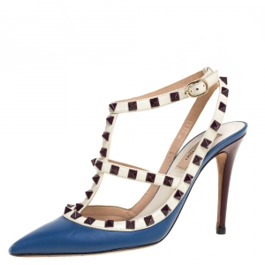 Valentino Blue/White Leather Rockstud Ankle Strap Sandals Size 38 - used