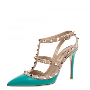 Valentino Aqua Blue/Beige Leather Studded Ankle Strap Pointed Toe Sandals Size 35 - used