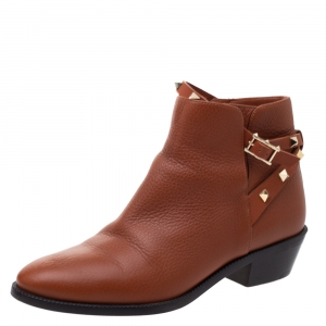 Valentino Brown Grained Leather Rockstud Ankle Boots Size 38