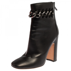 Valentino Black Leather Chain Link Block Heel Ankle Boots Size 39 - used