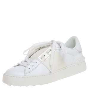 Valentino White And Beige Patent Leather Band Open Low Top Sneakers Size 40.5