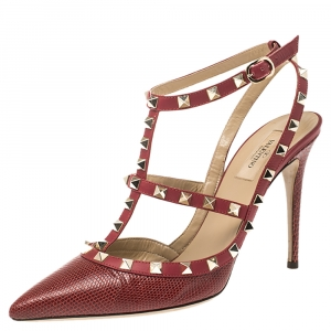 Valentino Red Lizard and Leather Rockstud Pumps Size 41