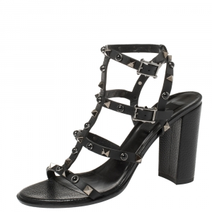 Valentino Black Leather Rolling Rockstud Sandals Size 38.5