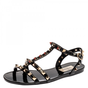 Valentino Black Rubber Rockstud Strappy Flat Sandals Size 35