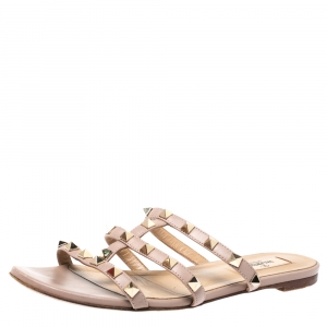 Valentino Beige Leather Rockstud Caged Flat Slides Size 37.5