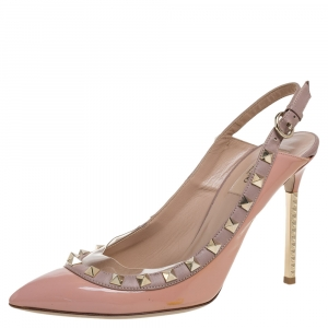 Valentino Coral Patent Leather Rockstud Slingback Sandals Size 39