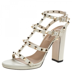 Valentino White Leather Rockstud Ankle Strappy Block Heel Sandals Size 38 - used