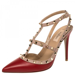 Valentino Red/Beige Leather Rockstud Ankle Strap Sandals Size 40