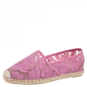 Valentino Pink Lace Espadrille Flats Size 39