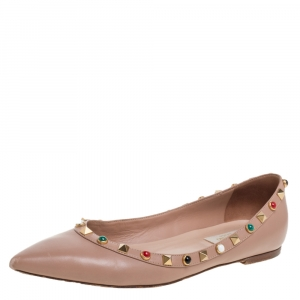 Valentino Beige Leather Rolling Rockstud Pointed Toe Ballet Flats Size 37.5