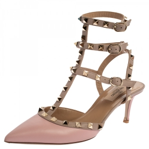 Valentino Pink Leather Rockstud Ankle Strap Sandals Size 38 - used