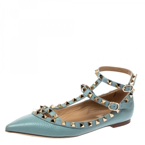 Valentino Pale Blue Leather Rockstud Flats Size 37