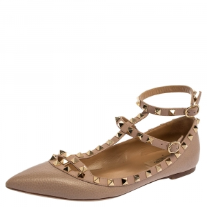 Valentino Blush Pink Leather Rockstud Ankle Cuff Ballet Flats Size 39.5
