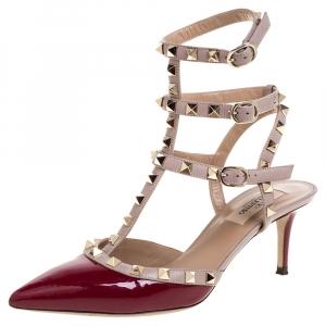 Valentino Burgundy Patent Leather Rockstud Sandals Size 38