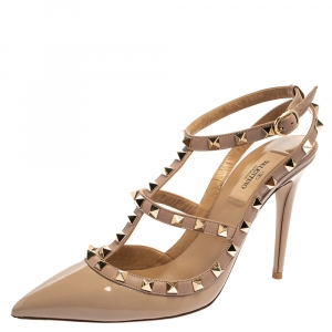 Valentino Beige Patent Leather Rockstud Ankle Strap Sandals Size 39.5 - used