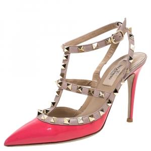 Valentino Garavani Beige Leather Rockstud Sandals Size 36 - used