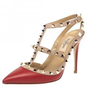 Valentino Red/Beige Leather Rockstud Ankle Strap Caged Sandals Size 35