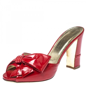 Valentino Red Patent Leather Bow Slide Sandals Size 36