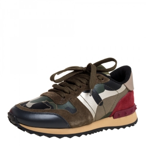 """حذاء رياضي فالنتينو """"روكرونر"""" منخفض من أعلى جلد و سويدي و كانفاس مطبوع كاموفلاغ متعدد الألوان مقاس 35"""