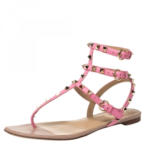 Valentino Pink Leather Rockstud Thong Flat Sandals Size 39.5 - used