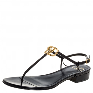 Valentino Black Leather VLogo Thong Sandals Size 38
