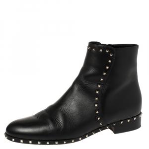 حذاء بوت كاحل فالنتينو روكستد جلد أسود مقاس 40