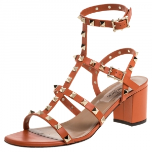 Valentino Orange Leather Rockstud Caged Open Toe Sandals Size 37.5