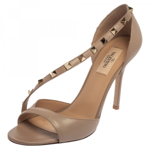 Valentino Beige Leather Studded D