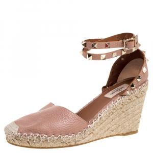 Valentino Pale Pink Leather Rockstud Espadrille Wedge Sandals Size 37