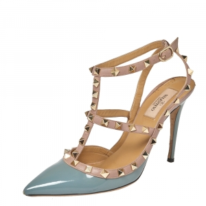 Valentino Gray/Beige Patent Leather Rockstud Ankle Strap Sandals Size 39 - used
