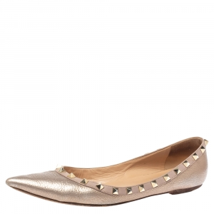 Valentino Metallic Leather Rockstud Ballet Flats Size 40